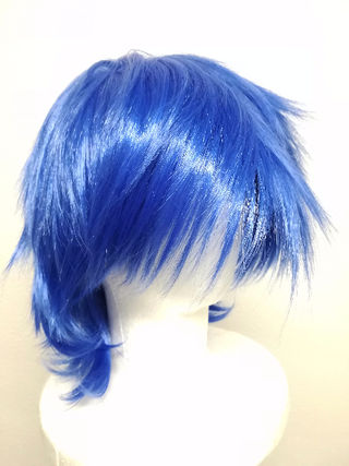逆毛トップコスプレ用フルウィッグ青・ブルーショート