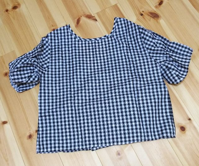 *SALE* ギンガムチェック 半袖 ブラウス シャツ