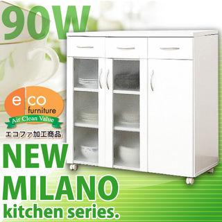 ホワイト鏡面仕上げのキッチンカウンター(90cm×90cm)