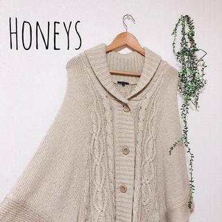 Honeys ケーブル編みニットポンチョ 森ガール