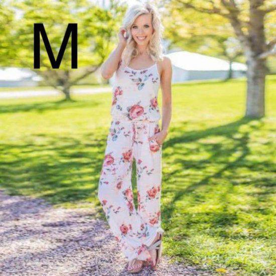 新品花柄キレイオールインワン ホワイト M