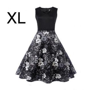 新品ウエスト切り替え花柄キレイワンピース ブラック XL