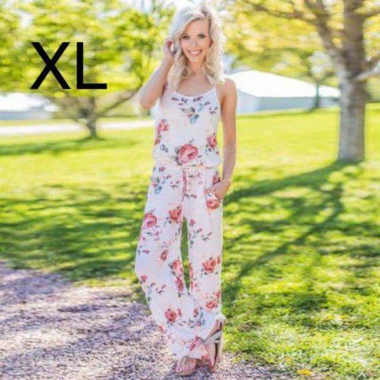 新品花柄キレイオールインワン ホワイト XL