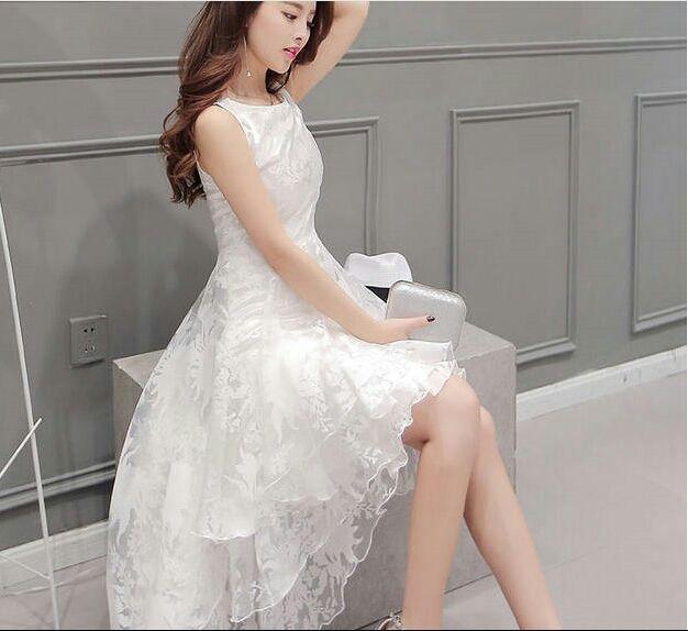 即日発送!花柄オーガンジーフィッシュテールホワイトドレス