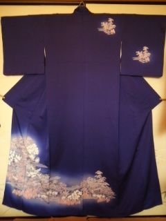 艶青紫シック付下正絹中古美品167裄長