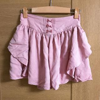 ピンクのリボンキュロットスカート