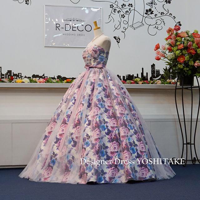 ウエディングドレス パープル花柄&白チュール