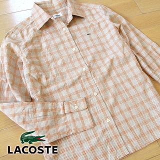 超美品 40(L位) ラコステ 長袖チェック柄シャツ