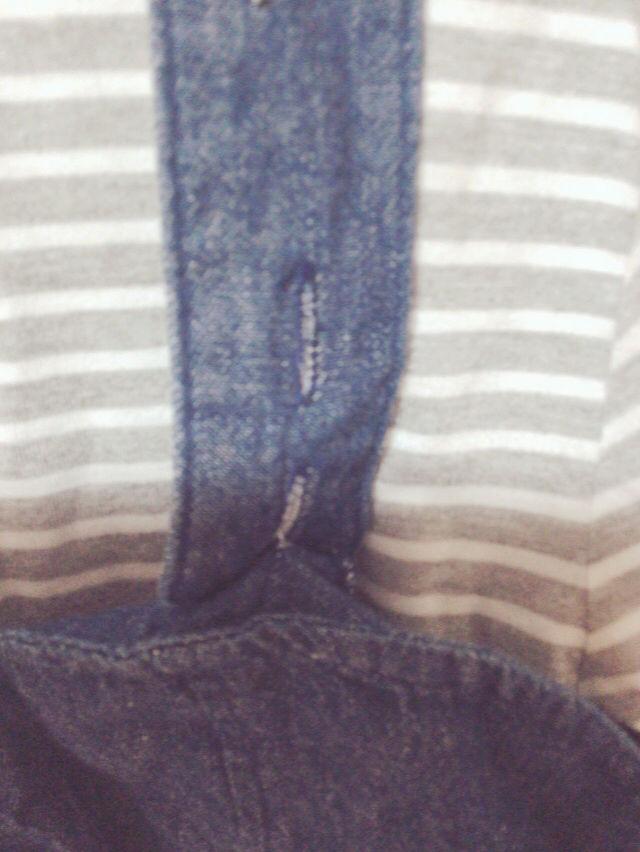 ボーダーTシャツ&デニムビスチェ