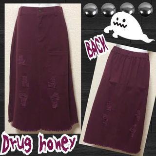 【新品/Drug honey】ダメージ加工ナロースカート