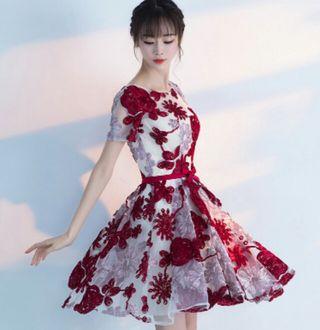 新作花柄刺繍フレアドレスパーティドレス