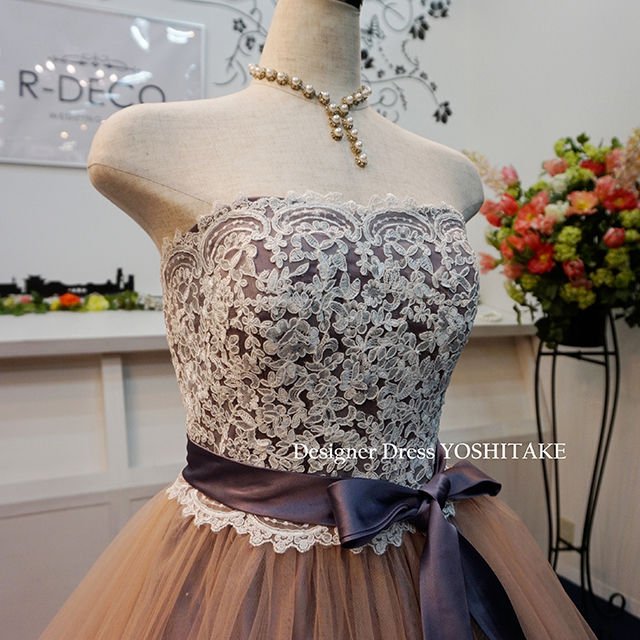 ウエディングドレス(パニエ無料) Aラインロングトレーン