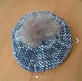 リアルファーぽんぽんつきツイードベレー帽