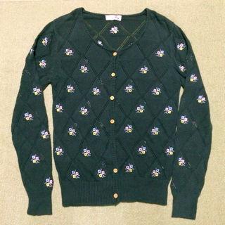 crisp 花柄刺繍カーディガン緑