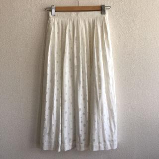 可愛い!水玉白フレアスカート