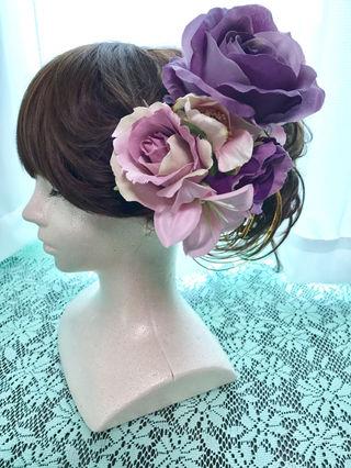 大輪パープルローズのヘッドドレス
