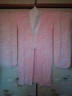 ピンク鶴松*長襦袢袷正絹振袖チョー美品レタP