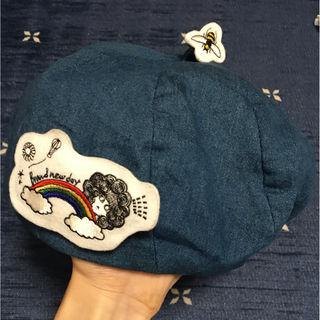 スカラー ベレー帽 ワッペンバッジ付き デニム SCOLAR