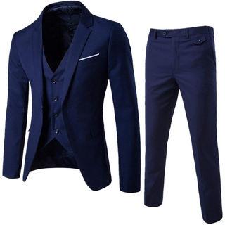 メンズスーツ 3ピース 紺 一つボタン ネイビー