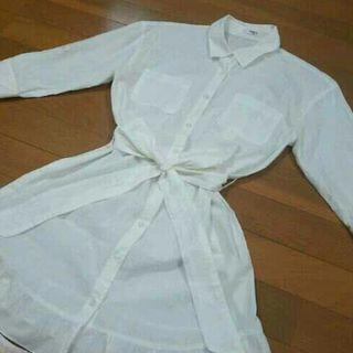 白ブラウス フリル ロングシャツ