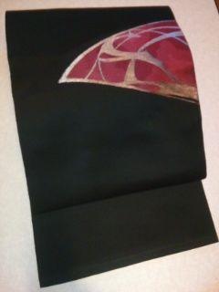 黒/錆朱イブシ金刺繍正絹ナゴヤ未使用レタR