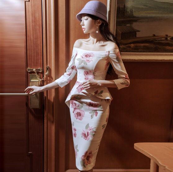 即日発送!花柄 オフショル 大人セクシー ペプラム ドレス
