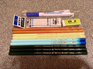 鉛筆9本+消しゴム+シャープペン セット