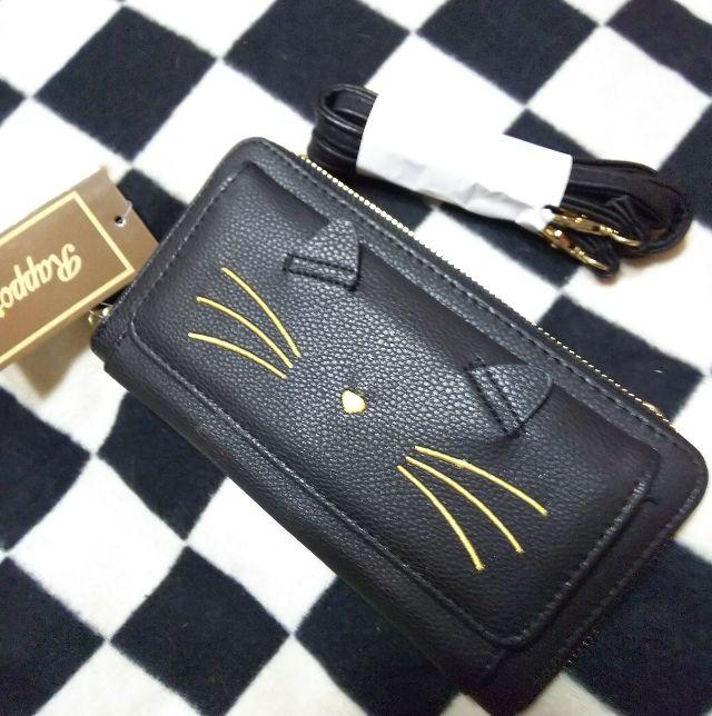 Rapportショルダーバッグ用ヒモ付猫型長財布
