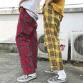 3色 レトロ チェック パンツ ユニセックス ダンス 韓国