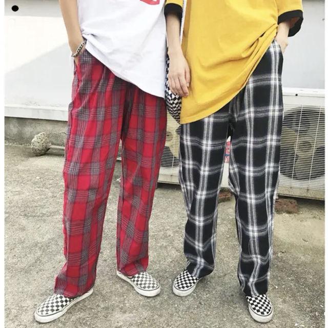 3色 レトロ チェック パンツ ユニセックス ダンス 韓国 - フリマアプリ&サイトShoppies[ショッピーズ]