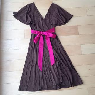 ウエストリボン ドレス ワンピース