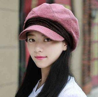 レザーピンク 小顔効果 防寒 キャスケット 帽子 レディース