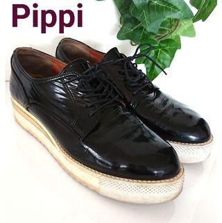 Pippi 厚底 ソール 靴 エナメル レザー パンプス 黒