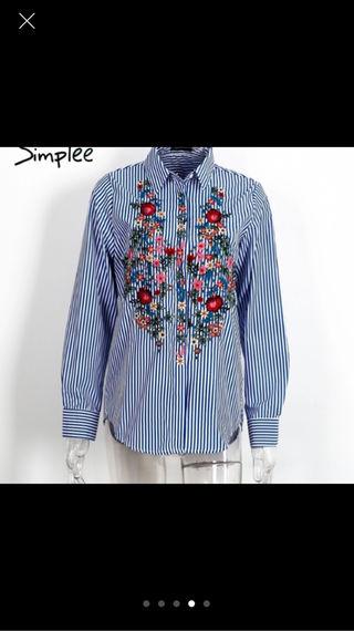 ZARA系刺繍ストライプシャツ
