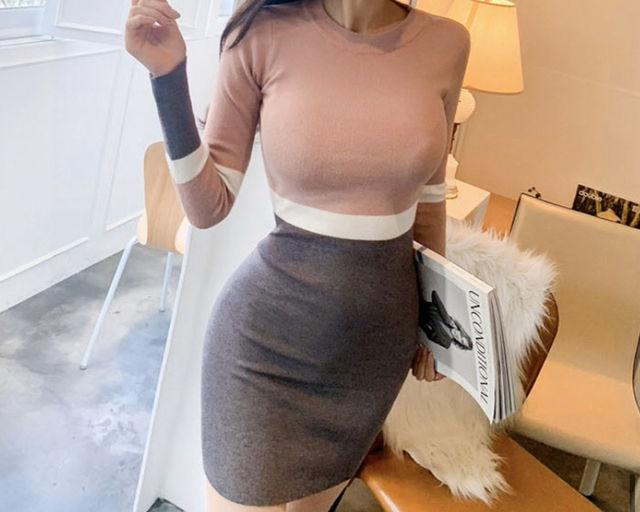 セクシー切替ニットワンピースタイトスカート