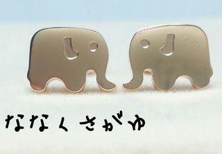 キュートな2匹のゾウピアス