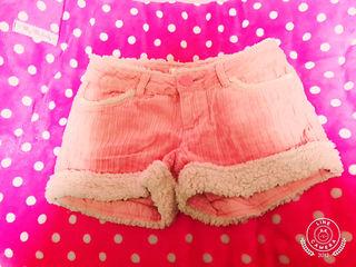 honeysベロア素材ショーパン ピンク