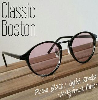 ラウンドボストンだて眼鏡ピアノブラック マゼンタピンクレンズ