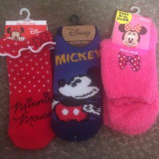新品ミッキー&ミニー靴下3足セット
