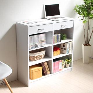 【送料無料】本棚 多目的収納ラック 幅90cm ホワイト