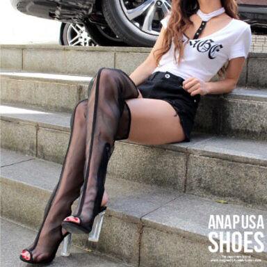 ANAP クリアヒールシースルーニーハイブーツ(ANAP(アナップ) ) - フリマアプリ&サイトShoppies[ショッピーズ]