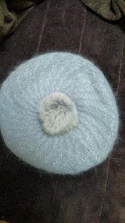 smoochグレーポンポン付ニットベレー帽