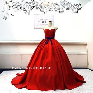 ウエディングドレス(無料パニエ) 赤サテンプリンセスドレス
