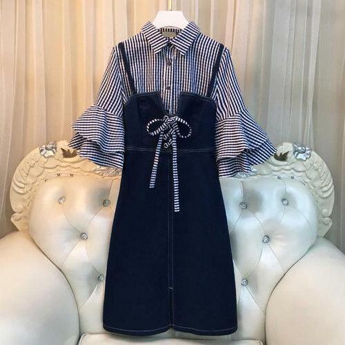【XLサイズ】ストライプシフォンシャツ+デニムスカート襟付き - フリマアプリ&サイトShoppies[ショッピーズ]