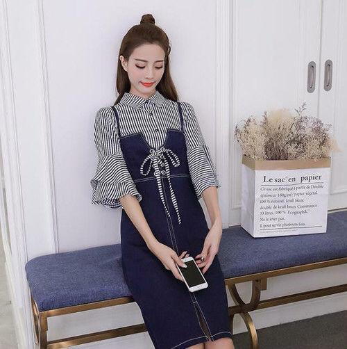 【XLサイズ】ストライプシフォンシャツ+デニムスカート襟付き