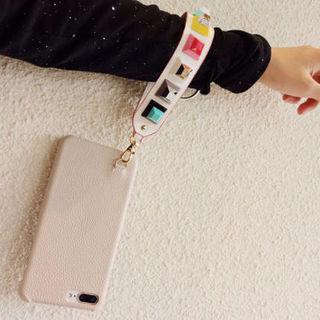 19☆キューブスタッズストラップタイプiPhoneケース
