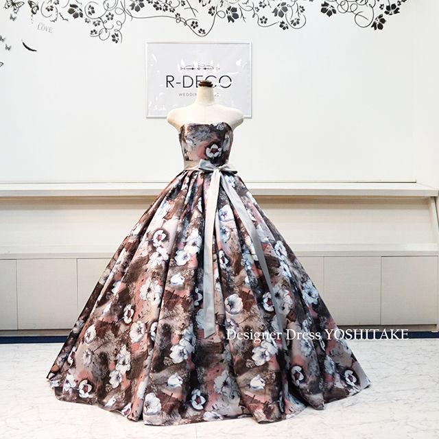 ウエディングドレス(パニエ無料) 花柄ドレス