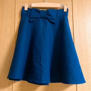 イング 藍色リボンスカート