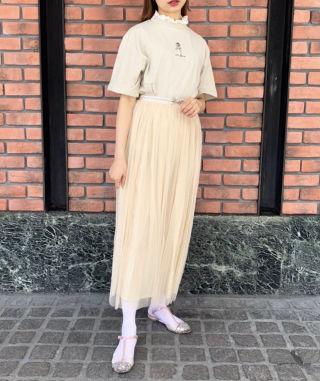 薔薇刺繍ハイネックレースTシャツ