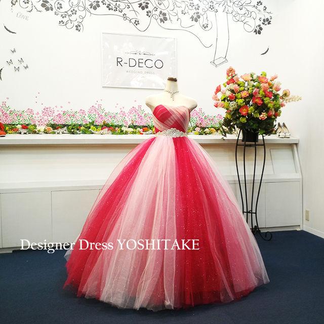 ウエディングドレス(パニエ無料) 赤&ピンクチュール&ラメ